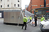 Conservative Party Conference ,<br /> Manchester, Great Britain <br /> 4th October 2015 <br /> <br /> Police putting up a road block near the conference centre <br /> <br /> <br /> Photograph by Elliott Franks <br /> Image licensed to Elliott Franks Photography Services