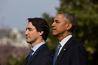 U.S. President Barack Obama (R) welcomes Prime Minister of Canada Justin Trudeau (L) at an arrival ceremony on the South Lawn of the White House, in Washington, DC, USA, 10 March 2016. This is the first official visit of Prime Minister of Canada Justin Trudeau to the White House. Photo Credit: Jim LoScalzo/CNP/AdMedia