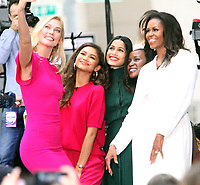 October 11, 2018  Karlie Kloss, Zendaya, Freida Pinto,  Michelle Obama at Today Show announces the Obama Foundation's Global Girls Alliance to Support Adolescent Girls Education Around the World on International Day of the Girl   at Rockefeller Center Plaza in New York October 11, 2018 Credit:RW/MediaPunch