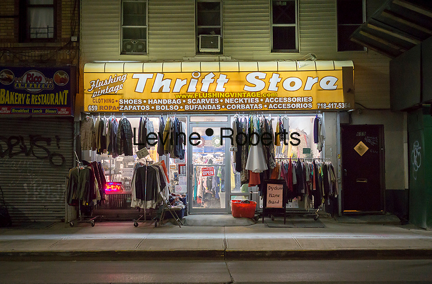 A thrift store in the Bushwick neighborhood of Brooklyn in New York on Tuesday, February 21, 2017. (© Richard B. Levine)