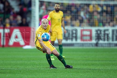 01.09.2016. nib Stadium, Perth, Australia. World Cup Football Qualifier. Australia versus Iraq. Australia's Aaron mooy passes the ball in his teams win over Iraq 2-0.