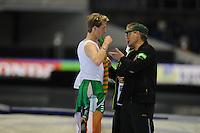 SCHAATSEN: HEERENVEEN: 25-10-2013, IJsstadion Thialf, NK afstanden, 5000m, Jorrit Bergsma, Jillert Anema (trainer/coach), ©foto Martin de Jong