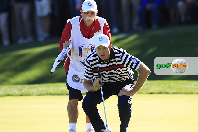 "USA Team Player Jim Furyk and caddy Mike ""Fluff"" Cowan on the 16th green during Sunday's Singles Matches of the 39th Ryder Cup at Medinah Country Club, Chicago, Illinois 30th September 2012 (Photo Colum Watts/www.golffile.ie)"