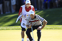 """USA Team Player Jim Furyk and caddy Mike """"Fluff"""" Cowan on the 16th green during Sunday's Singles Matches of the 39th Ryder Cup at Medinah Country Club, Chicago, Illinois 30th September 2012 (Photo Colum Watts/www.golffile.ie)"""