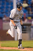 Luke Murton #34 of the Georgia Tech Yellow Jackets hustles down the first base line versus the Wake Forest Demon Deacons at Wake Forest Baseball Park April 18, 2009 in Winston-Salem, NC. (Photo by Brian Westerholt / Four Seam Images)