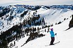 Spring skiing in Sherwood Bowl Alpine Meadows ski resort, California.