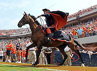 The Virginia Cavalier mascot takes the field during an NCAA college football game against Penn State in Charlottesville, Va. Virginia defeated Penn State 17-16.