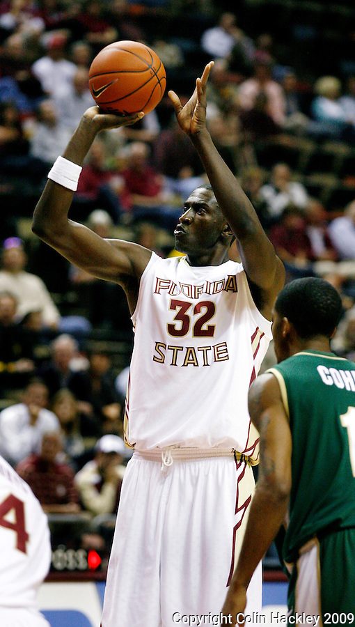 TALLAHASSEE, FL 11/16/09-FSU-JU BB09 CH42-Florida State's Solomon Alabi puts up a free throw against Jacksonville during half action Monday at the Donald L. Tucker Center in Tallahassee...COLIN HACKLEY PHOTO
