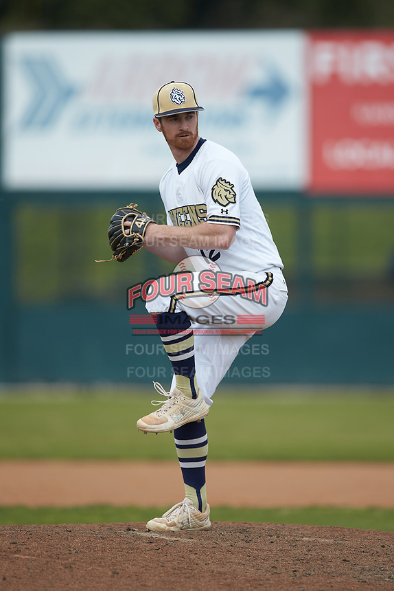Queens Royals relief pitcher Wes Boling (12) in action against the Mars Hill Lions at Intimidators Stadium on March 30, 2019 in Kannapolis, North Carolina. The Royals defeated the Bulldogs 11-6 in game one of a double-header. (Brian Westerholt/Four Seam Images)