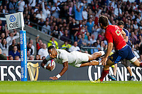 Anthony Watson of England dives for the try-line. QBE International match between England and France on August 15, 2015 at Twickenham Stadium in London, England. Photo by: Rogan Thomson/JMP for Onside Images