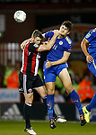 Jack O'Connell of Sheffield Utd and Harry Maguire of Leicester City during the Carabao Cup, second round match at Bramall Lane, Sheffield. Picture date 22nd August 2017. Picture credit should read: Simon Bellis/Sportimage