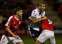 Bolton Wanderers' Darren Pratley is held inside the penalty area by Crewe Alexandra's Chris Dagnall <br /> <br /> Photographer Andrew Kearns/CameraSport<br /> <br /> The Carabao Cup - Crewe Alexandra v Bolton Wanderers - Wednesday 9th August 2017 - Alexandra Stadium - Crewe<br />  <br /> World Copyright &copy; 2017 CameraSport. All rights reserved. 43 Linden Ave. Countesthorpe. Leicester. England. LE8 5PG - Tel: +44 (0) 116 277 4147 - admin@camerasport.com - www.camerasport.com