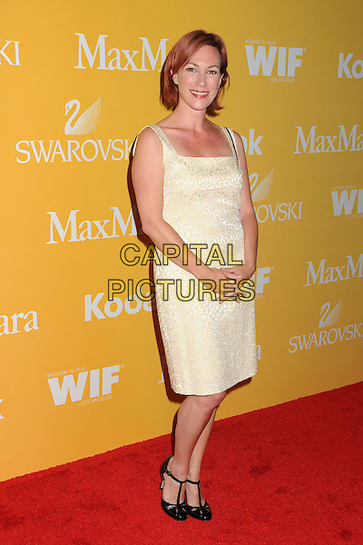Tanya Franks.Women In Film Crystal + Lucy Awards 2012 held at the Beverly Hilton Hotel, Beverly Hills, California, USA..June 12th, 2012.full length white cream dress black shoes .CAP/ADM/BP.©Byron Purvis/AdMedia/Capital Pictures.