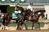"October 07, 2018 : #8 Champagne Problems and jockey Calvin Borel in the 63rd running of The Juddmonte Spinster (Grade 1) $500,000 ""Win and You're In Breeders' Cup Distaff Division"" at Keeneland Race Course on October 07, 2018 in Lexington, KY.  Candice Chavez/ESW/CSM"