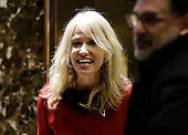 Donald Trump Campaign Manager Kellyanne Conway stands in the lobby of Trump Tower on December 5, 2016 in New York City. United States President-elect Donald Trump is still holding meetings upstairs at Trump Tower as he continues to fill in key positions in his new administration.   <br /> Credit:John Angelillo / Pool via CNP