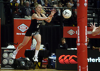 25.10.2012 Silver Ferns Laura Langman in action during the Silver Ferns v England netball test match as part of the Quad Series played at the TSB Arena Wellington. Mandatory Photo Credit ©Michael Bradley.