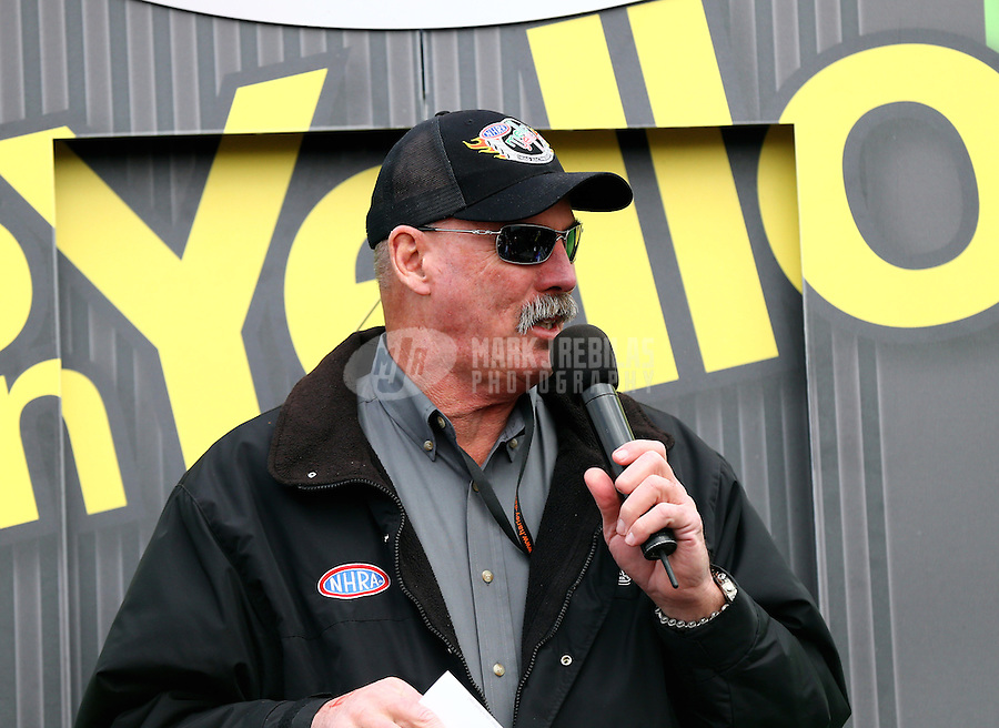 Feb 7, 2014; Pomona, CA, USA; NHRA announcer Alan Reinhart during qualifying for the Winternationals at Auto Club Raceway at Pomona. Mandatory Credit: Mark J. Rebilas-