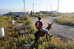 A youth rides a donkey, as settlers gather after rumors were made of a possible eviction of the unauthorized Israeli outpost of Ramat Gilad, West Bank.