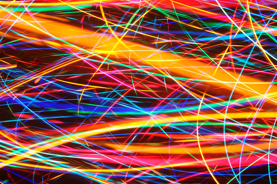 December 13, 2014 Color lights on Christmas tree blurred with long exposure and camera movement with 55 micro Nikkor.