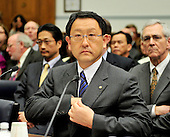 Washington, D.C. - February 24, 2010 --  Akio Toyoda, President and CEO, Toyota Motor Corporation prepares to testify before the U.S. House Committee on Government and Reform examining the Federal government's response to the recall of millions of Toyota vehicles due to reports of malfunctioning gas pedals, and to gain a better understanding of the nature of the sudden acceleration problem in Toyota vehicles and what should be done about it..Credit: Ron Sachs / CNP.(RESTRICTION: NO New York or New Jersey Newspapers or newspapers within a 75 mile radius of New York City)