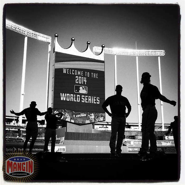 KANSAS CITY, MO - OCTOBER 20: Instagram of the San Francisco Giants working out the day before Game 1 of the World Series against the Kansas City Royals at Kauffman Stadium on October 20, 2014 in Kansas City, Missouri. Photo by Brad Mangin