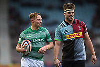 Sam Stuart of Newcastle Falcons with Jack Clifford of Harlequins. Premiership Rugby Cup match, between Harlequins and Newcastle Falcons on November 4, 2018 at the Twickenham Stoop in London, England. Photo by: Patrick Khachfe / JMP
