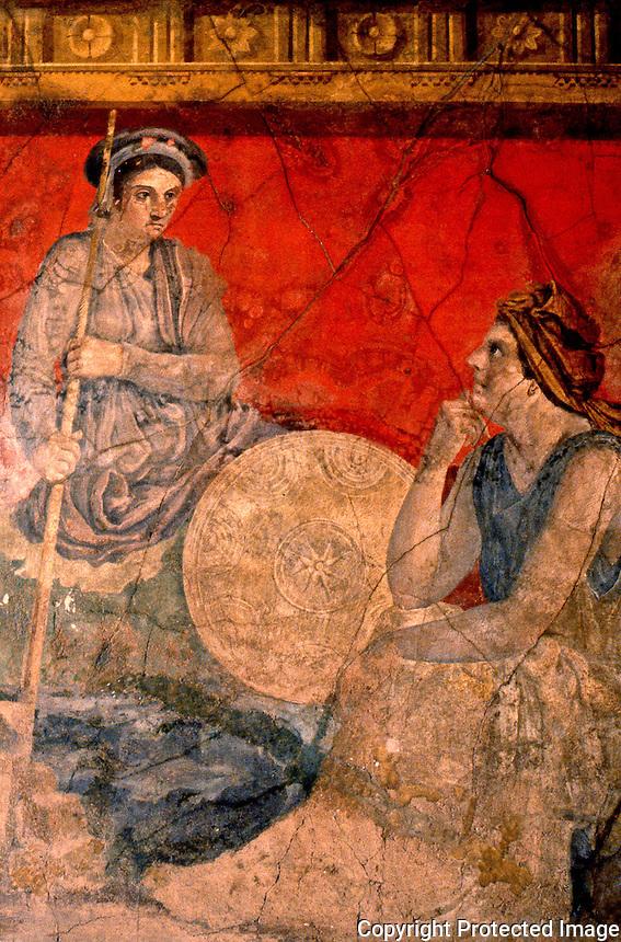 Roman Art:  Pompeii, Wall Fresco--Women Talking.  National Museum, Naples.    Photo '83.