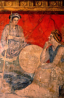 Roman Art:  Pompeii, Wall Fresco--Women Talking.  National Museum, Naples.    Photo '83.