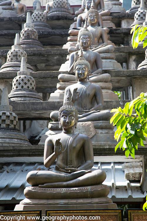 Buddha statues at Gangaramaya Buddhist Temple, Colombo, Sri Lanka, Asia