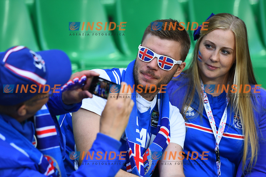 Tifosi Islanda Supporters Iceland<br /> Saint-Etienne 14-06-2016 Stadium Geoffroy-Guichard Football Euro2016 Portugal-Iceland / Portogallo-Islanda Group Stage Group F<br /> Foto Massimo Insabato / Insidefoto