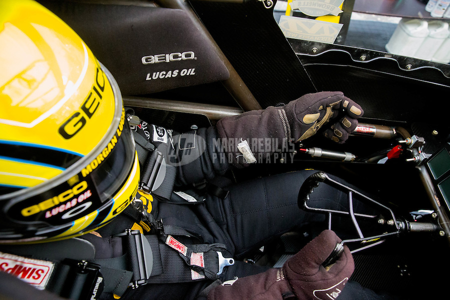 Feb 20, 2015; Chandler, AZ, USA; Detailed view as NHRA top fuel driver Richie Crampton holds the brake handle during qualifying for the Carquest Nationals at Wild Horse Pass Motorsports Park. Mandatory Credit: Mark J. Rebilas-