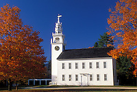 church, Jaffrey, NH, New Hampshire, White clapboard Meeting House ca. 1775 surrounded by colorful fall foliage in the town of Jaffrey Center.