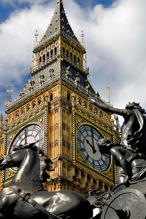Big Ben Juxtaposed Against the Chariot of Boadicea in Westminster, London