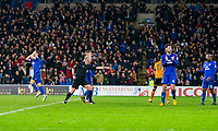 Referee Mike Riley points to the spot for a second injury time penalty to Cardiff during the Sky Bet Championship match between Cardiff City and Wolverhampton Wanderers at the Cardiff City Stadium, Cardiff, Wales on 6 April 2018. Photo by Mark  Hawkins / PRiME Media Images.