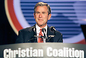 Governor George W. Bush (Republican of Texas) the leading candidate for the nomination of the Republican Party in 2000, speaks to the Christian Coalition's annual conference in Washington on October 1, 1999.<br /> Credit: Ron Sachs / CNP