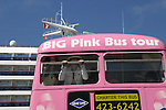 Guiding Light's Liz Keifer and her daughter Bella in the Big Pink Bus - Day 2 - August 1, 2010 - So Long Springfield at Sea - A day in port in Saint John, New Brunswick, Canada from the Carnival's Glory (Photos by Sue Coflin/Max Photos)