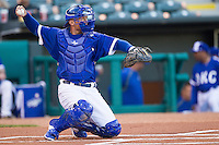 Oklahoma City Dodgers catcher Brian Ward (10) during warmups prior to the game against the Nashville Sounds at Chickasaw Bricktown Ballpark on April 15, 2015 in Oklahoma City, Oklahoma. Oklahoma City won 6-5. (William Purnell/Four Seam Images)