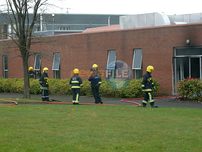 Members of Drogheda Fire brigade attending a fire in the now vacant Brother factory on the Industrial estate. Photo: Colin Bell/Newsfile