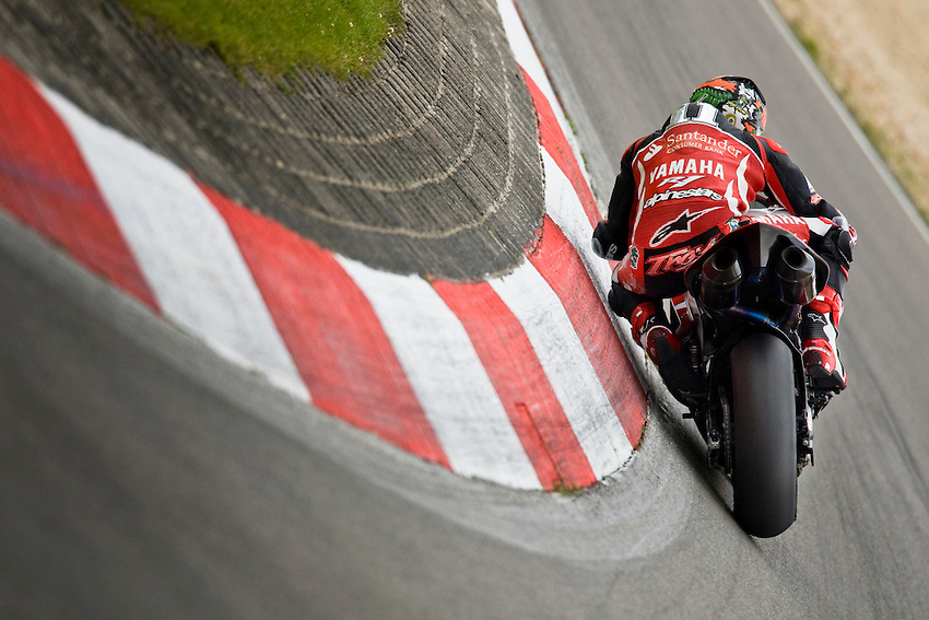 Troy Corser (Aus), Yamaha YZF R1 #11 Team Yamaha Motor Italia WSB, here, in the famous S corner of Shumacher during the superpole, Saturday, June 14, 2008, in Nürburgring, Eifel, Germany. (Valentin Bianchi/pressphotointl.com)