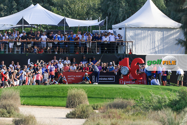 Bryson Dechambeau (USA) on the 16th tee during Round 4 of the Omega Dubai Desert Classic, Emirates Golf Club, Dubai,  United Arab Emirates. 27/01/2019<br /> Picture: Golffile | Thos Caffrey<br /> <br /> <br /> All photo usage must carry mandatory copyright credit (© Golffile | Thos Caffrey)