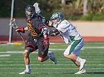 La Canada, CA 03/15/14 - Brandon Trentalange (Torrey Pines #22) and Connor Maloney (De La Salle #7) in action during the Torrey Pines vs De La Salle Boy's lacrosse game at St Francis High School in Pasadena.  Torrey Pines defeated De La Salle 10-6.