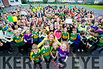 Pictured at Gaelscoil Mhic Easmainn on Wednesday last, wishing the Kerry Minor team the very best of luck for Sunday, in foreground were l-r: Eoghan Ó Dálaigh, Brid Ní Shúilleabháin, Cait Uí Chonchúir (Principal) with Alannah De Róiste and Orla Buitiméir.