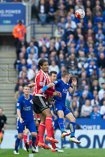 03.04.2016. King Power Stadium, Leicester, England. Barclays Premier League. Leicester versus Southampton.  Southampton defender Ryan Bertrand gets above Leicester City striker Jamie Vardy to head the ball.