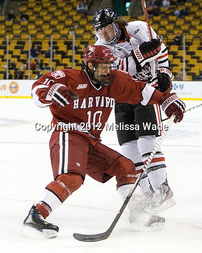 Eric Kroshus (Harvard - 10), Garrett Vermeersch (Northeastern - 9) - The Harvard University Crimson defeated the Northeastern University Huskies 3-2 in the 2012 Beanpot consolation game on Monday, February 13, 2012, at TD Garden in Boston, Massachusetts.