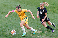 June 4, 2016: CAITLIN FOORD (9) of Australia runs with the ball during an international friendly match between the Australian Matildas and the New Zealand Football Ferns as part of the teams' preparation for the Rio Olympic Games at Morshead Park in Ballarat. Photo Sydney Low