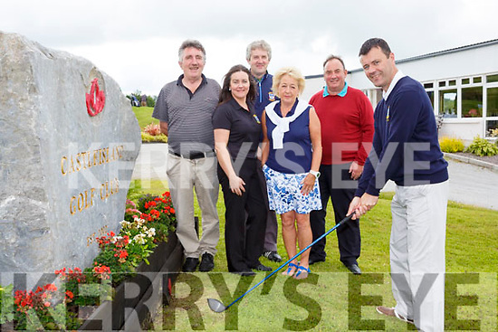 Jonathan Kelliher takes a swing at his Captains Drive in Castleisland Golf Course on Sunday with l-r: willie Galvin, Mairead Guiney, Gerard Sheehy, Mary Ann Downes and Des Burns