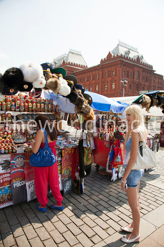 RUSSIA, Moscow. Souvenirs for sale at the Manege Square.