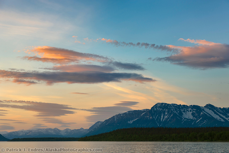 Shore of Naknek lake, Mount Katolinat and clouds, Katmai National Park, southwest, Alaska.