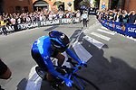Hector Carretero (ESP) Movistar Team rounds the hairpin to commence the San Luca climb during Stage 1 of the 2019 Giro d'Italia, an individual time trial running 8km from Bologna to the Sanctuary of San Luca, Bologna, Italy. 11th May 2019.<br /> Picture: Eoin Clarke | Cyclefile<br /> <br /> All photos usage must carry mandatory copyright credit (© Cyclefile | Eoin Clarke)