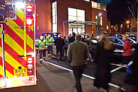 Firefighters attend AFA at an Office Block staff are waiting outside. This image may only be used to portray the subject in a positive manner..©shoutpictures.com..john@shoutpictures.com
